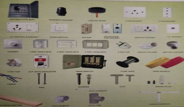 MATERIAL AND FITTINGS REQUIRED FOR ELECTRICAL WORK