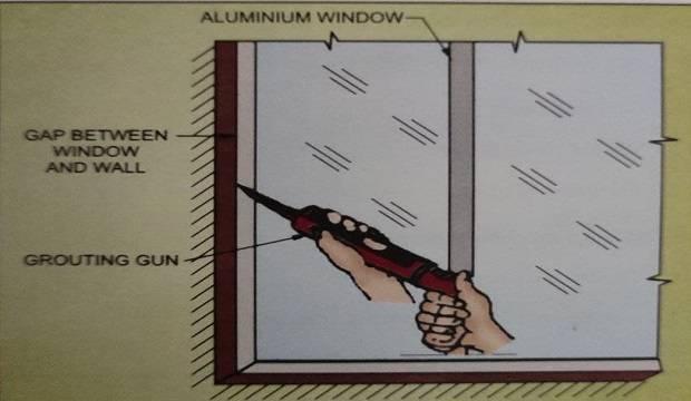 grouting gaps between windows