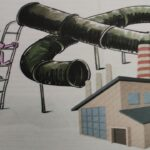 Gas supply system in building services, installation, png